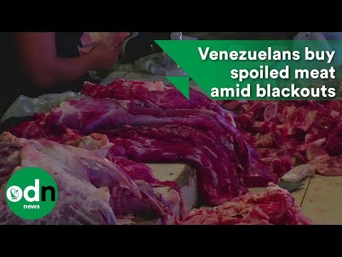 Desperate Venezuelans buy spoiled meat amid blackouts