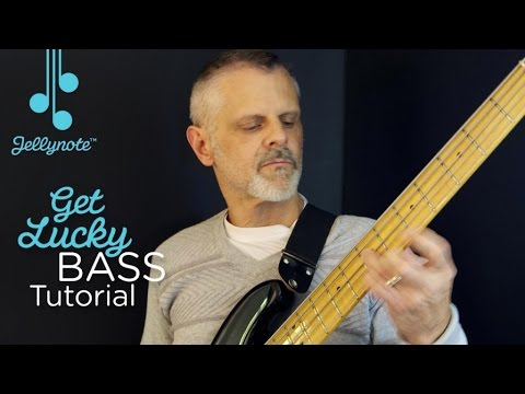 Get Lucky by Daft Punk - Easy Bass tutorial for Beginners (Jellynote Lesson)