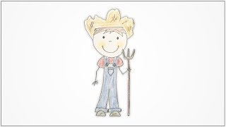 How to draw Community Helpers - Farmer for kids