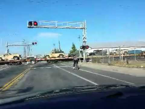 Long Train w/ Military Vehicles @ San Leandro CA.