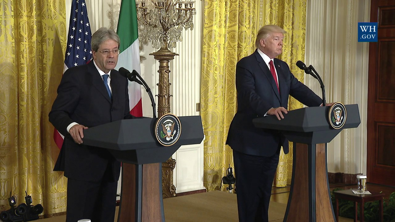 Hasil gambar untuk President Trump holds a joint press conference with Prime Minister Gentiloni