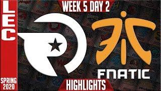OG vs FNC Highlights   LEC Spring 2020 W5D2   Origen vs Fnatic