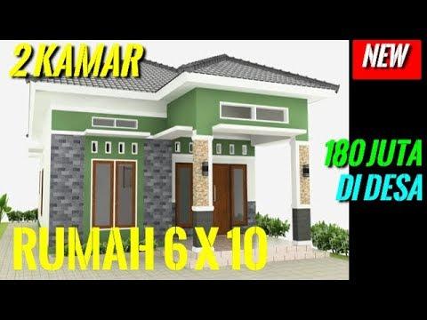 Desain Rumah Minimalis Sederhana 6x10meter 2 Kamar 1 Lantai Di Desa Modern  Full TAMPAK DEPAN - YouTube