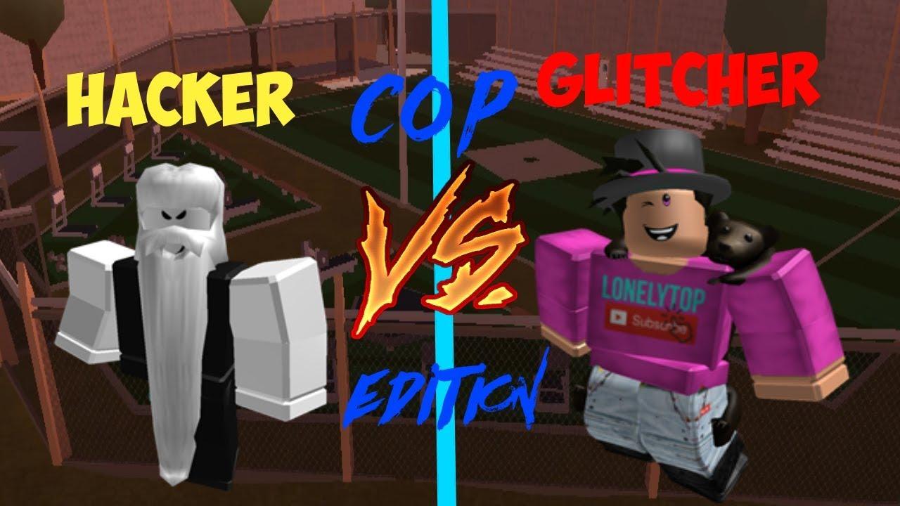 Hacker Vs Glitcher Roblox Jailbreak Cop Edition Youtube