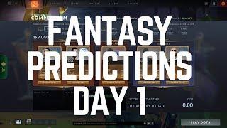 Dota 2 Fantasy Player Predictions DAY 1 - The International 8