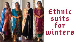 INDIAN ETHNIC SUITS FOR WINTERS | IDEAS FOR SUITS FOR WEDDINGS & PARTIES | #shimmerandmusebysapna