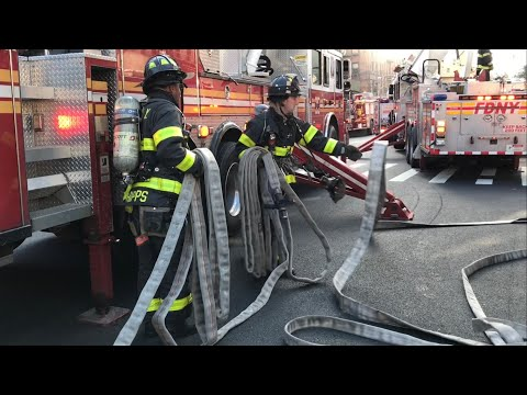 FDNY BOX 1135 - FDNY BATTLING A 2ND ALARM FIRE ON WEST 83RD STREET ON WEST SIDE OF MANHATTAN, NYC.
