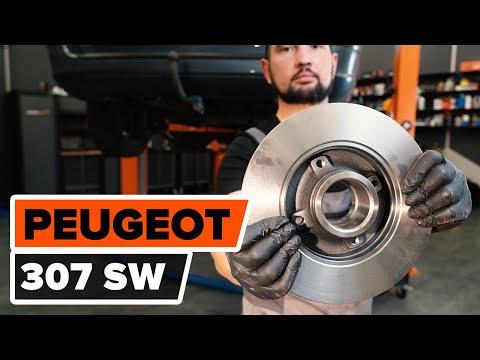 How to change rear brake discs onPEUGEOT 307 (3H)[TUTORIAL AUTODOC]