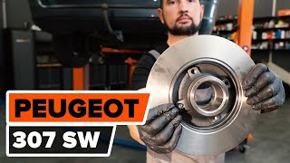 front and rear Brake disc kit installation PEUGEOT 307: video manual
