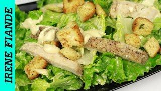Шикарный салат ЦЕЗАРЬ с курицей. Салат с курицей и сухариками .Вкусный!