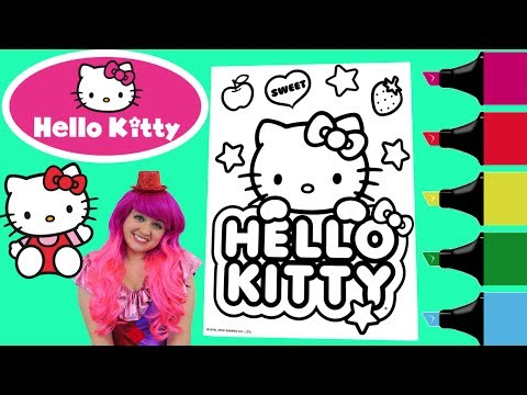 Coloring Hello Kitty Sanrio Coloring Book Page Colored Markers Prismacolor | KiMMi THE CLOWN