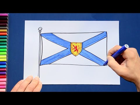 How to draw and color the State Flag of Nova Scotia, Canada