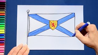How to draw and color the Flag of Nova Scotia, Canada