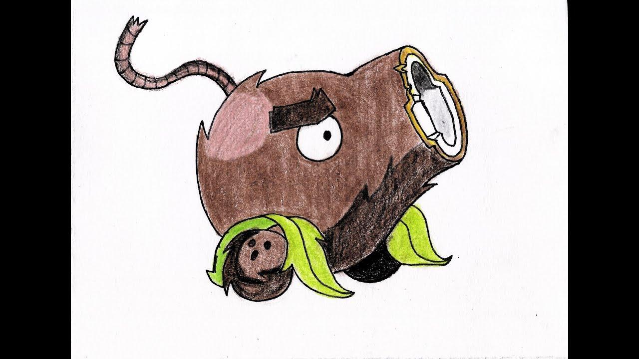 como dibujar al cañón de cocos (Plants vs Zombies 2 ...