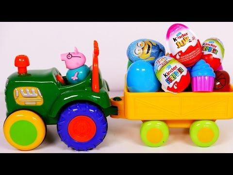 Toy Tractor Playset with Many Surprise Eggs for Kids!! Nursery Rhymes for Children