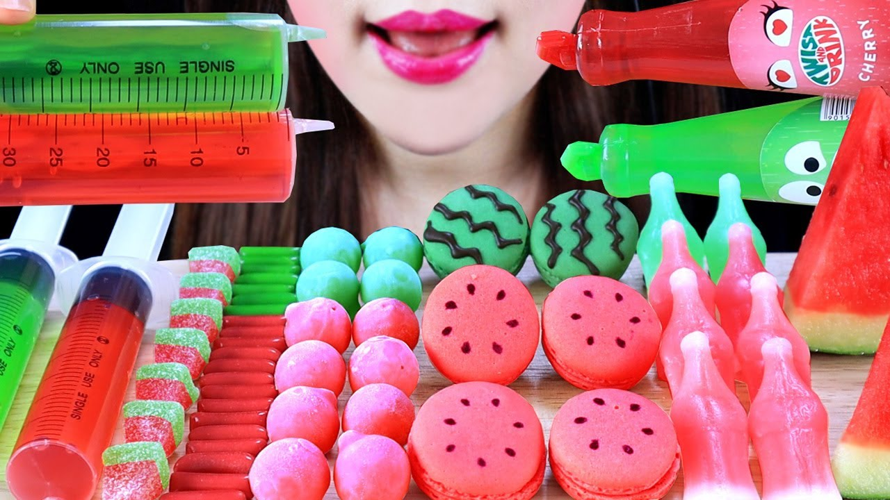 ASMR WATERMELON TWIST DRINK MACARON NIK-L-NIP WAX BOTTLES BEAD ICECREAM MERMAID JELLY SYRINGE CANDYS