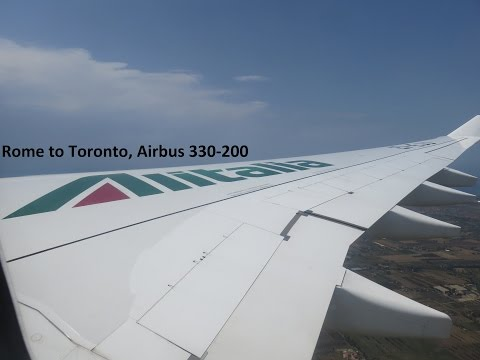 Airbus 330-200 Full Economy flight Alitalia Rome to Toronto July 2016