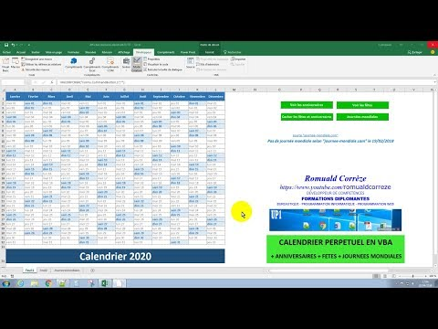 Calendrier Vba Excel 2020.Excel Vba Evenements Dans Calendrier Perpetuel En Vba Youtube