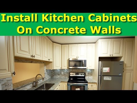 How to Install Kitchen Cabinets on Interior Stud walls and Exterior Cement Brick Walls