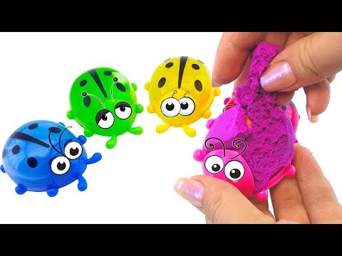 Божьи коровки с сюрпризами.   Игрушки из коллекции киндер сюрприз. Учим цвета. Видео для детей.