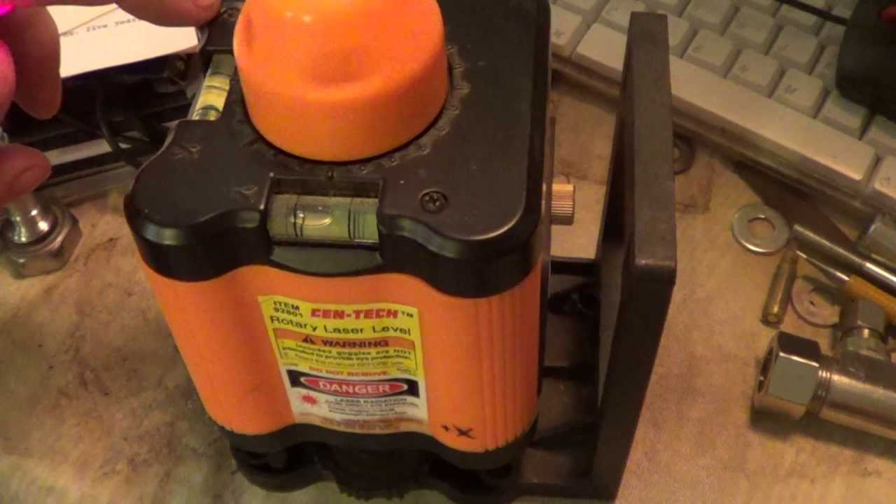Rotary Laser Level Alignment Cen Tech Harbor Freight 92801 Youtube