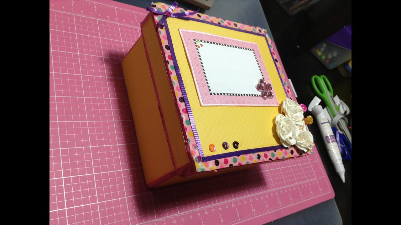 Decorar Una Caja De Carton Caja De Carton Decorada Scrapbook Youtube