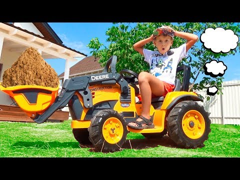 Mini TRACTOR - Excavators! Unboxing and playig Alex Ride on Power Wheel Tractors John Deere