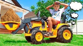 Новый Трактор Экскаватор убрал песок и помог застрявшей машинке John Deere