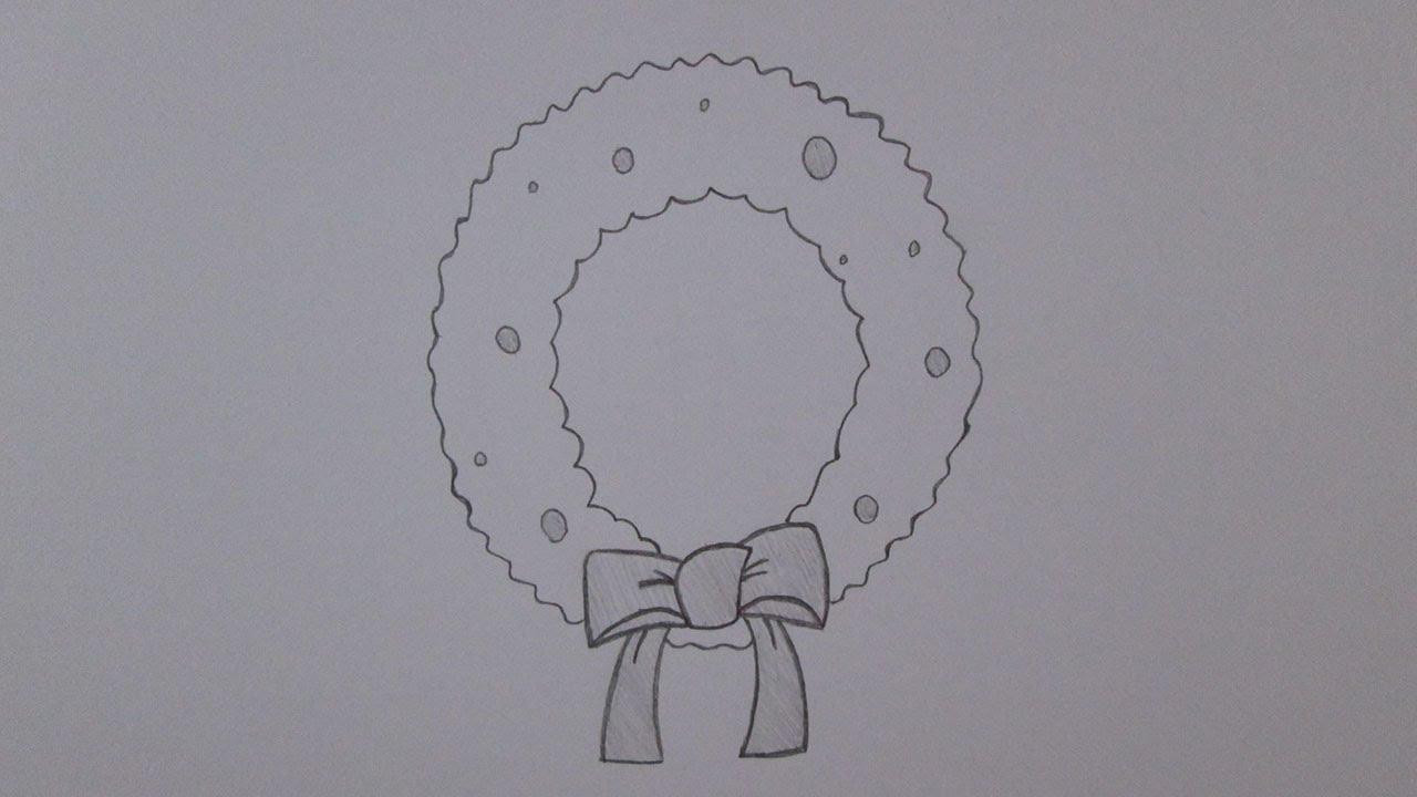 Cmo dibujar una corona de Navidad  YouTube