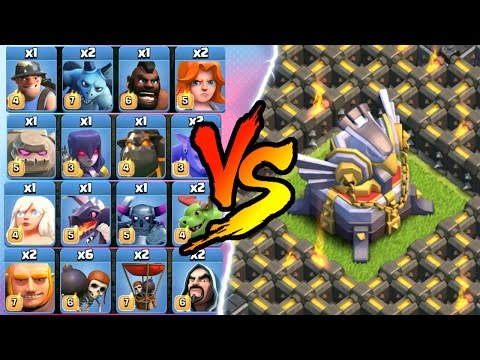 Clash Of Clans - ALL MAX TROOP TROLL vs ONE BASE!! - INSANE GAME PLAY ALL TROOPS 2016!