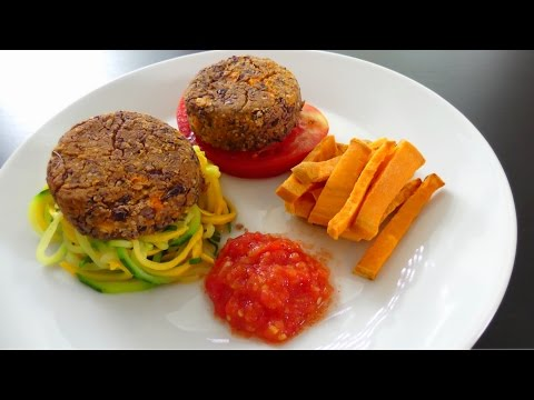 burger-steak-frites-au-haricot-rouge-&-patate-douce-[recette-facile]-[vegan]-[déjeuner-/-dîner]