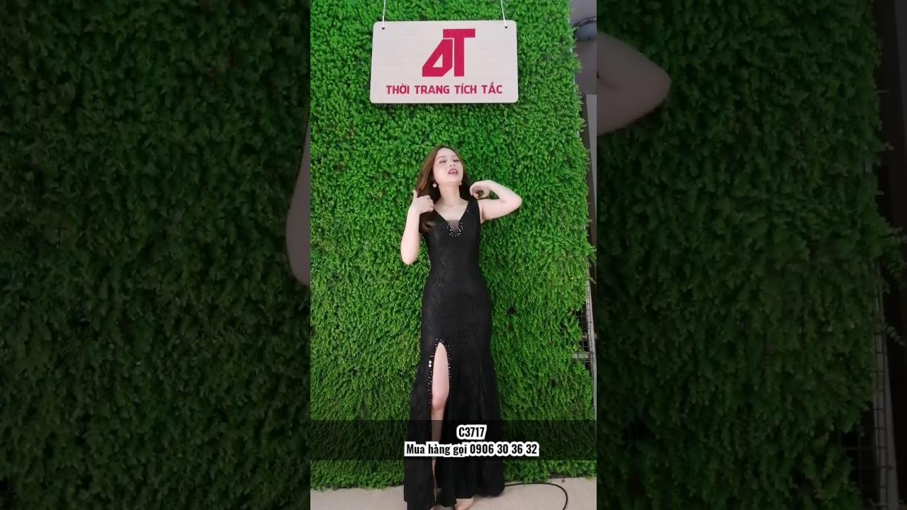 Đầm dạ hội ren xẻ đùi đính cườm - C3717