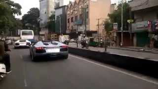 2 Lamborghini aventadors (roadster and coupe) rolling together in Bangalore ,India