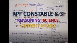 RPF SI & CONSTABLE REASONING, G.A, CURRENT AFAIRS, SCIENCE
