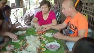 boodle fight our lunch in the philippines,., banana leaves