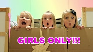 24 HOURS IN A BOX FORT! | NO BOYS ALLOWED
