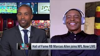 Marcus Allen reacts to Josh Jacobs breaking his Raiders rookie rushing record