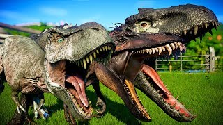 🌍 T-Rex Vs I-Rex Vs Acrocanthosaurus - Jurassic World Evolution (Dinosaurs Battle Royale)