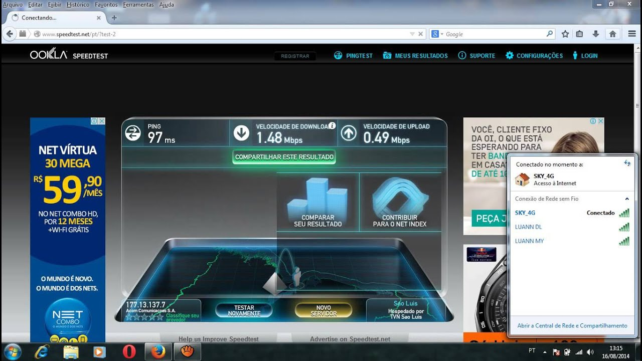 Teste da sky banda larga 4g - YouTube
