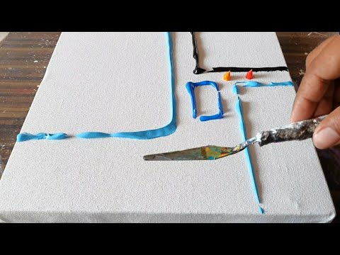 Composition / Easy Abstract Painting Demo in Acrylics / For beginners / Daily Art Therapy /Day #0192