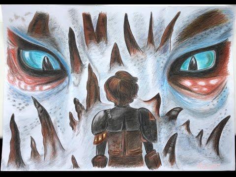 Встреча Смутьяна с Иккингом - рисунок цветными карандашами из Как приручить дракона