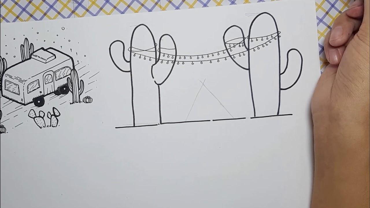 Vẽ xương rồng đơn giản theo một nghệ thuật khác_ Drawing cactus black and white.(part2)