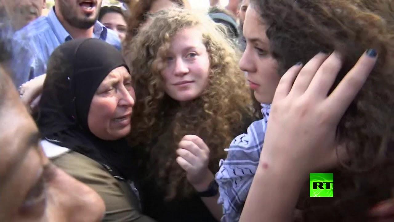 لحظات مؤثرة .. عهد التميمي بين أهلها بعد إطلاق إسرائيل سراحها