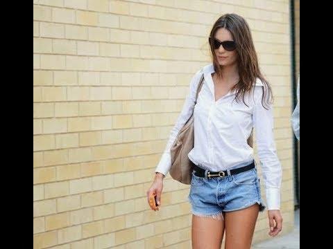 White button down shirt and denim cutoffs trend 2018