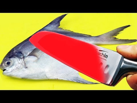 EXPERIMENT GLOWING 1000 DEGREE KNIFE VS POMFRET FISH