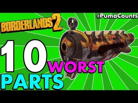 Top 10 Worst Gun and Weapon Parts in Borderlands 2 (All Gun/Weapon Types + Prefix) #PumaCounts