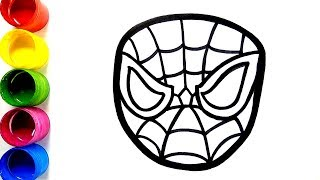 Glitter Spider Man Mask Coloring and drawing for Kids, Toddlers | Learn Colors | Colorsfun