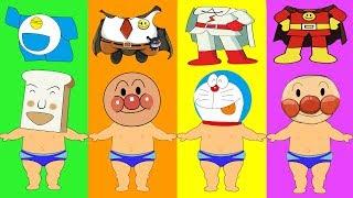 Colors for Kids to Learn Wrong Clothes Anpanman-アンパンマン Doraemon Shokupanman vs Batakosan