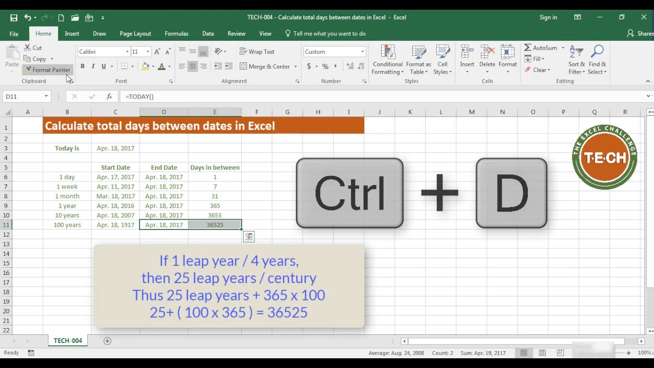 TECH-24 Calculate total days between two dates in Excel