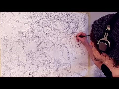 Huge My Hero Academia Drawing Every Class 1 A Member Anime Sketch